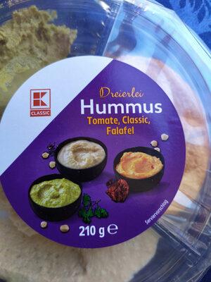 Dreierlei Hummus: Tomate, Classic, Falafel