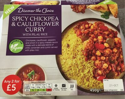 Spicy chickpea et cauliflower curry