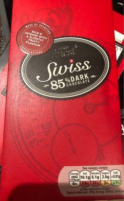 Tesco Finest Swiss 85% Plain Chocolate 100G