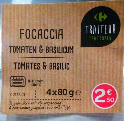 Focaccia tomates & basilic
