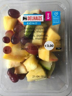 Ananas, pomme, raisons, mangue