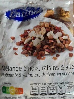 Mélange 5 noix, raisins