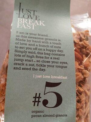 Organic pecan almond granola