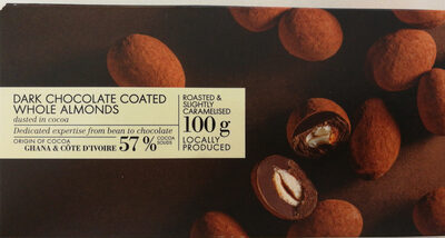 Dark chocolate coated whole almonds dusted with cocoa
