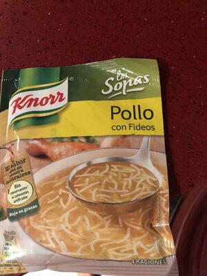Sopa de pollo con fideos sobre 61 g