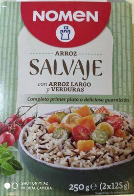 Arroz salvaje con arroz largo y verduras