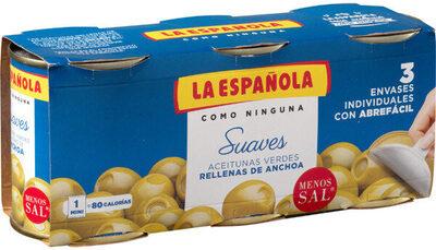Aceitunas suaves rellenas de anchoa pack 3 latas 50 g