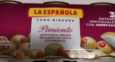 Aceitunas Verde Rellenas De Pimiento De Pasta De Pimiento