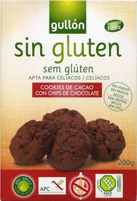 Cookies de cacao con chips de chocolate sin gluten