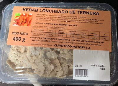Kebab loncheado de ternera