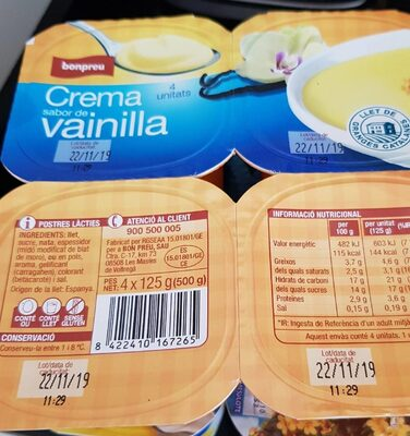 Crema sabor de vainilla