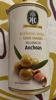 Aceitunas verdes gran tamaño rellenas de anchoas