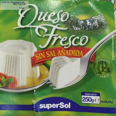 Queso fresco sin sal añadida