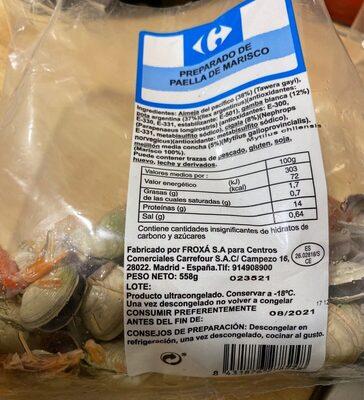 Preparado de paella de marisco