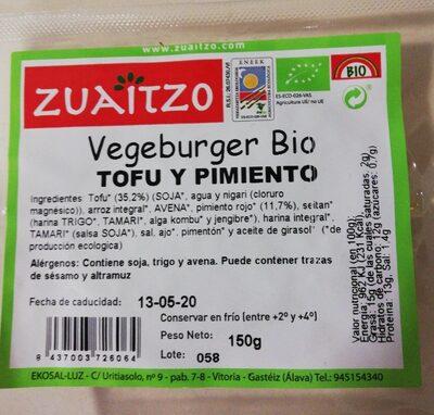 Vegeburger Bio Tofu y Pimiento