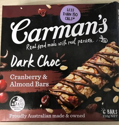 Carman's Dark Choc cranberry & Almond Bars