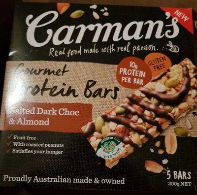 Carman's Gourmet Protein Bars Salted Dark Choc & Almond